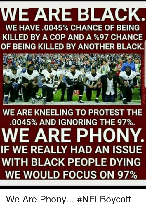 Memes, Protest, and Black: WE HAVE .0045% CHANCE OF BEING  KILLED BY A COP AND A %97 CHANCE  OF BEING KILLED BY ANOTHER BLACK.  WE ARE KNEELING TO PROTEST THE  .0045% AND IGNORING THE 97%.  WE ARE PHONY  IF WE REALLY HAD AN ISSUE  WITH BLACK PEOPLE DYING  WE WOULD FOCUS ON 97% We Are Phony... #NFLBoycott