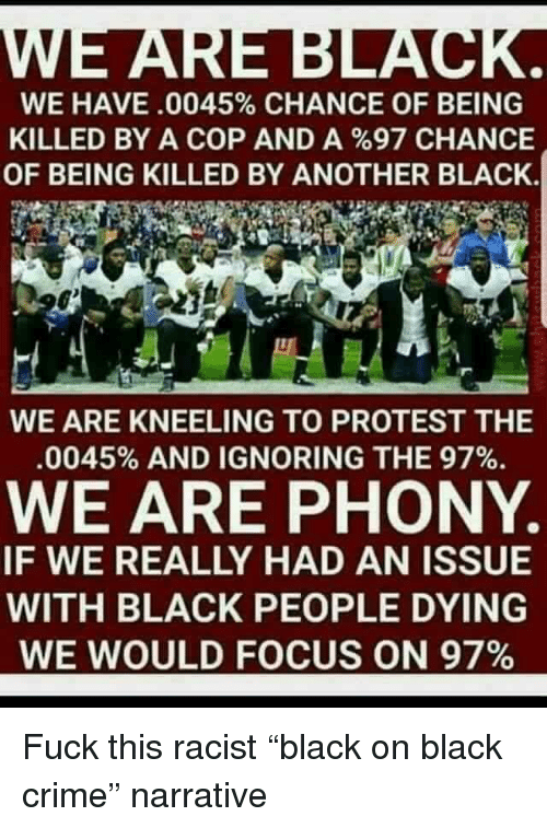 Crime, Protest, and Black: WE HAVE .0045% CHANCE OF BEING  KILLED BY A COP AND A %97 CHANCE  OF BEING KILLED BY ANOTHER BLACK,  WE ARE KNEELING TO PROTEST THE  O.  WE ARE PHONY  IF WE REALLY HAD AN ISSUE  WITH BLACK PEOPLE DYING  WE WOULD FOCUS ON 97%