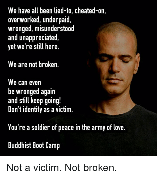 Love, Memes, and Army: We have all been lied-to, cheated-on,  overworked, underpaid,  wronged, misunderstood  and unappreciated  yet we're still here  We are not broken.  We can even  be wronged again  and still keep going!  Don't identify as a victim.  You're a soldier of peace in the army of love.  Buddhist Boot Camp Not a victim. Not broken.