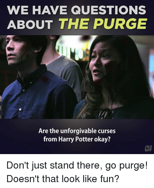 Harry Potter, Memes, and The Purge: WE HAVE QUESTIONS  ABOUT THE PURGE  Are the unforgivable curses  from Harry Potter okay? Don't just stand there, go purge! Doesn't that look like fun?