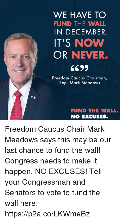 Conservative, Chair, and Freedom: WE HAVE TO  FUND THE WALL  IN DECEMBER  IT'S NOW  OR NEVER.  Freedom Caucus Chairman  Rep. Mark Meadows  FUND THE WALL.  NO EXCUSES. Freedom Caucus Chair Mark Meadows says this may be our last chance to fund the wall! Congress needs to make it happen, NO EXCUSES!  Tell your Congressman and Senators to vote to fund the wall here: https://p2a.co/LKWmeBz