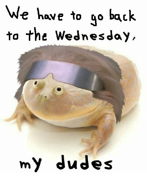 Wednesday, Back, and We Have to Go Back: We have to go back  to the Wednesday,  my dudes