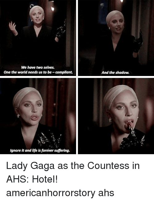 Lady Gaga, Life, and Memes: We have two selves.  One the world needs us to be -compliant.  Ignore it and life is forever suffering.  And the shadow. Lady Gaga as the Countess in AHS: Hotel! americanhorrorstory ahs
