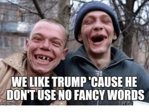 Fancy, Com, and Words: WE LIKE TRUMP'CAUSE HE  DON'TUSE NO FANCY WORDS  matlip.com