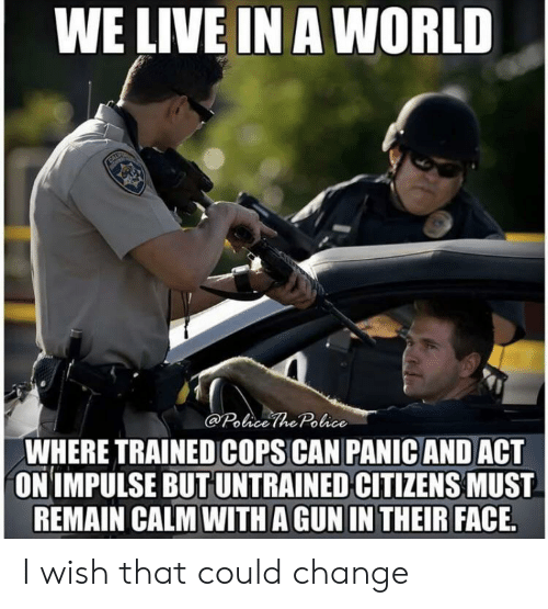 WE LIVE IN a WORLD the Police WHERE TRAINED COPS CAN PANIC AND ACT