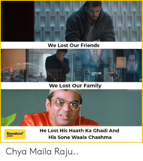 Family, Friends, and Memes: We Lost Our Friends  SCOTT LANG  We Lost Our Family  He Lost His Haath Ka Ghadi And  His Sone waaa Chashma  Bewakoof  .com Chya Maila Raju..