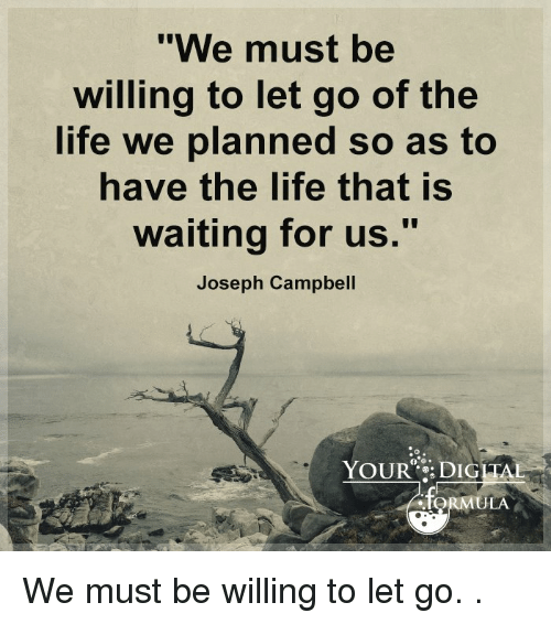 We Must Be Willing To Let Go Of The Life We Planned So As To Ave The