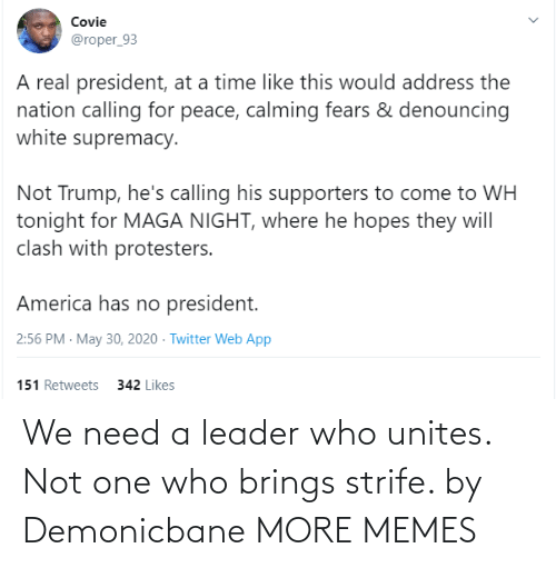 Dank, Memes, and Target: We need a leader who unites. Not one who brings strife. by Demonicbane MORE MEMES