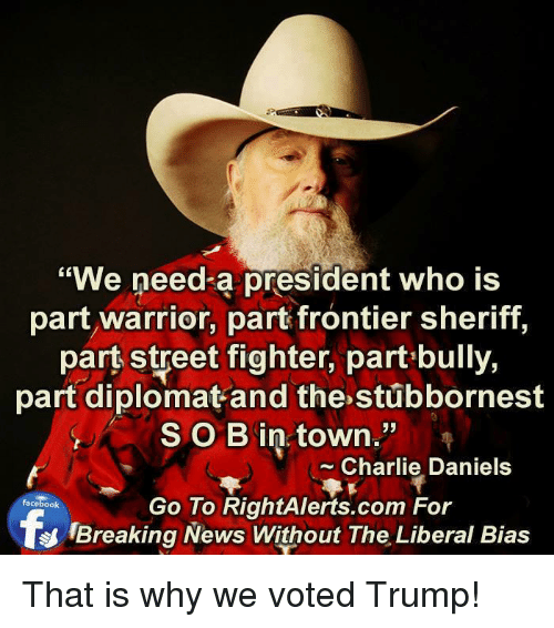 "Charlie, Memes, and Street Fighter: ""We need a president who is  part warrior, part frontier sheriff,  part street fighter, part bully,  part diplomat and the stubbornest  SOB in town.""  Charlie Daniels  Go To RightAlerts.com For  facebook  Breaking News Without The Liberal Bias That is why we voted Trump!"