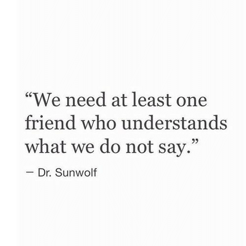 "Who, One, and Friend: ""We need at least one  friend who understands  what we do not say.""  92  Dr. Sunwolf"