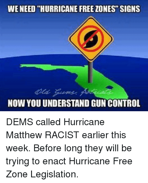 """Guns, Memes, and Control: WE NEED """"HURRICANE FREE ZONES"""" SIGNS  NOW YOUUNDERSTAND GUN CONTROL DEMS called Hurricane Matthew RACIST earlier this week. Before long they will be trying to enact Hurricane Free Zone Legislation."""
