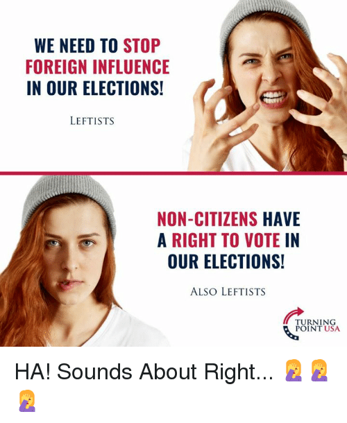 Memes, 🤖, and Usa: WE NEED TO STOP  FOREIGN INFLUENCE  IN OUR ELECTIONS!  LEFTISTS  NON-CITIZENS HAVE  A RIGHT TO VOTEIN  OUR ELECTIONS!  ALSO LEFTISTS  TURNING  POINT USA HA! Sounds About Right... 🤦‍♀️🤦‍♀️🤦‍♀️