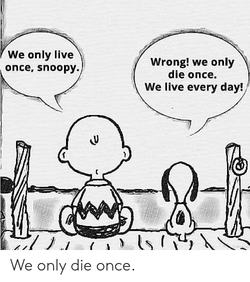 Live, Snoopy, and Once: We only live  once, snoopy.  Wrong! we only  die once.  We live every day! We only die once.