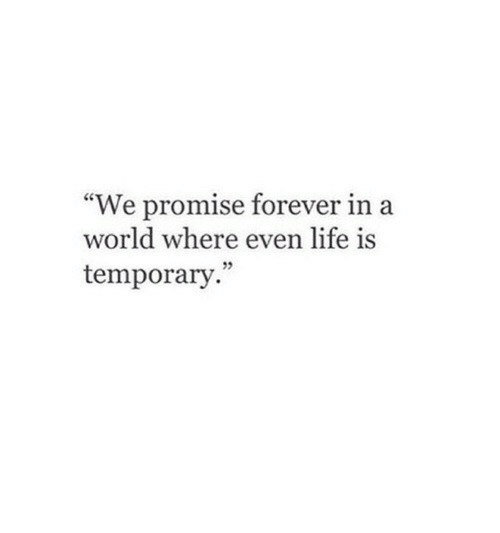 """Life, Forever, and World: """"We promise forever in a  world where even life is  temporary."""""""