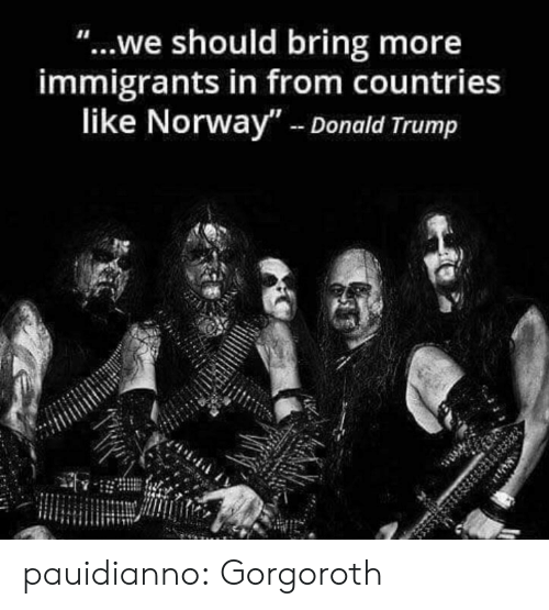 """Donald Trump, Tumblr, and Blog: """"...we should bring more  immigrants in from countries  like Norway""""- Donald Trump pauidianno:  Gorgoroth"""