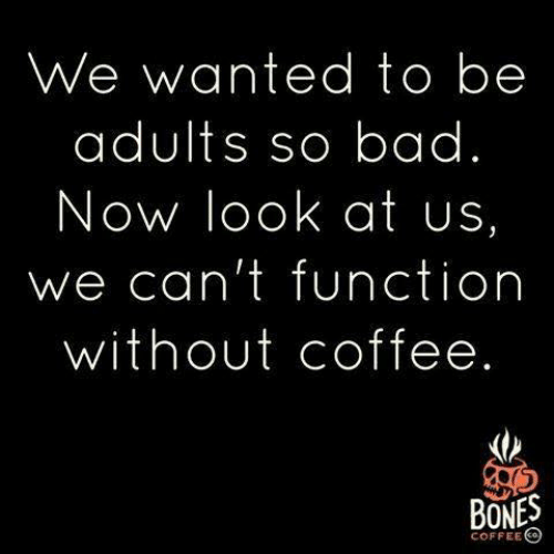 Bad, Bones, and Dank: We wanted to be  adults so bad.  Now look at us,  we can't function  without coffee.  BONES  COFFEE