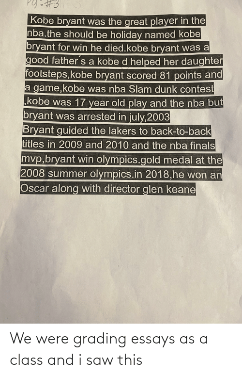 Saw, Class, and This: We were grading essays as a class and i saw this