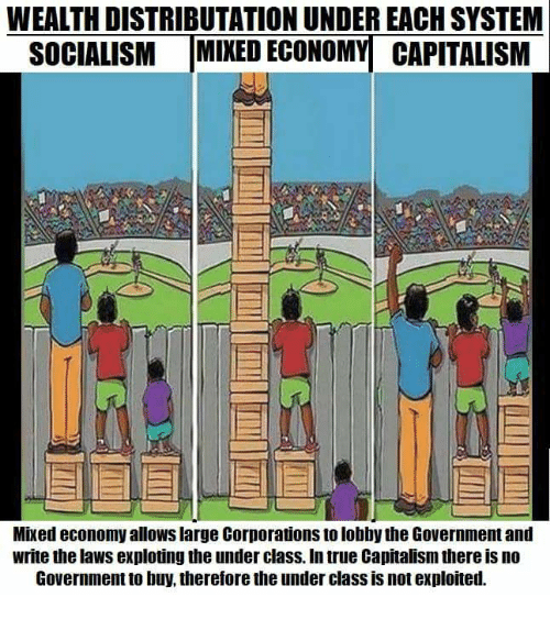 comparison between socialist and mixed economy Many countries have mixed economic systems with elements of both capitalism and socialism in the us, predominantly a capitalist system, there are many government-run programs, notably social security, medicaid, and medicare.