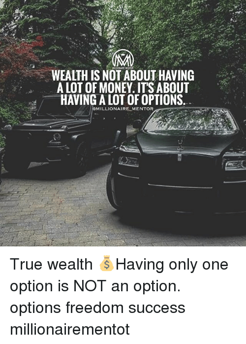 Memes, Money, and True: WEALTH IS NOT ABOUT HAVING  A LOT OF MONEY. ITS ABOUT  HAVING A LOT OF OPTIONS  MILLIONAIRE MENTOR True wealth 💰Having only one option is NOT an option. options freedom success millionairementot