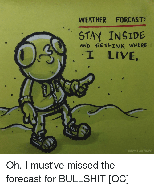 WEATHER FORCAST STAY INSIDE AND RETHINK WHERE I LIVE