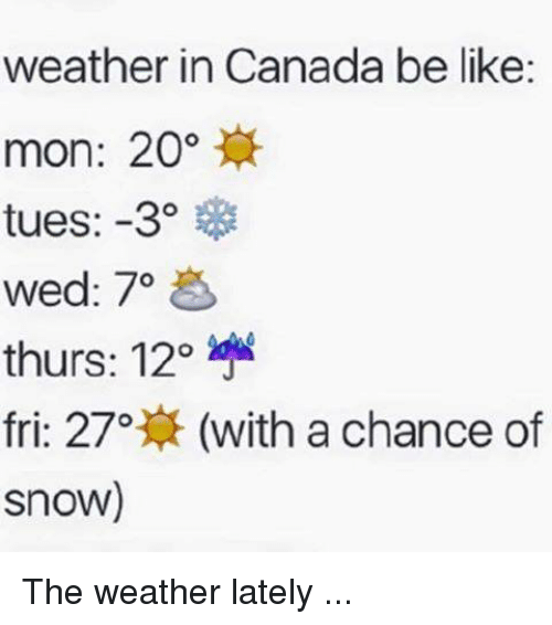 Memes, The Weather, and 🤖: weather in Canada be like:  mon: 20  tues: -3  wed: 70  thurs: 12o  fri: 27o  (with a chance of  Snow) The weather lately ...