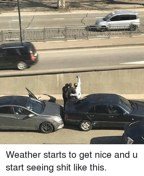 Funny, Shit, and Weather: Weather starts to get nice and u start seeing shit like this.