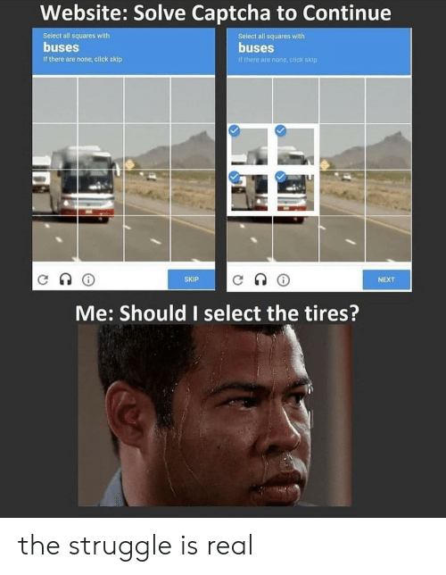 Click, Struggle, and The Struggle Is Real: Website: Solve Captcha to Continue  Select all squares with  Select all squares with  buses  buses  If there are none, click skip  If there are none click skip  SKIP  NEXT  Me: Should I select the tires? the struggle is real