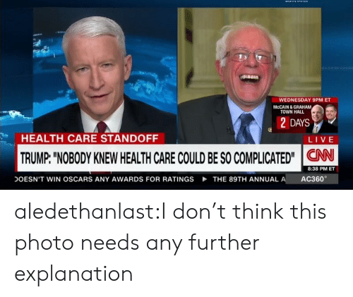 "Oscars, Tumblr, and Blog: WEDNESDAY 9PM ET  MCCAIN & GRAHAM  TOWN HALL  2 DAYS  HEALTH CARE STANDOFF  LIVE  TRUMP: ""NOBODY KNEW HEALTH CARE COULD BE SO COMPLICATED""CAN  8:38 PM ET  AC360  DOESN'T WIN OSCARS ANY AWARDS FOR RATINGS  THE 89TH ANNUAL A aledethanlast:I don't think this photo needs any further explanation"