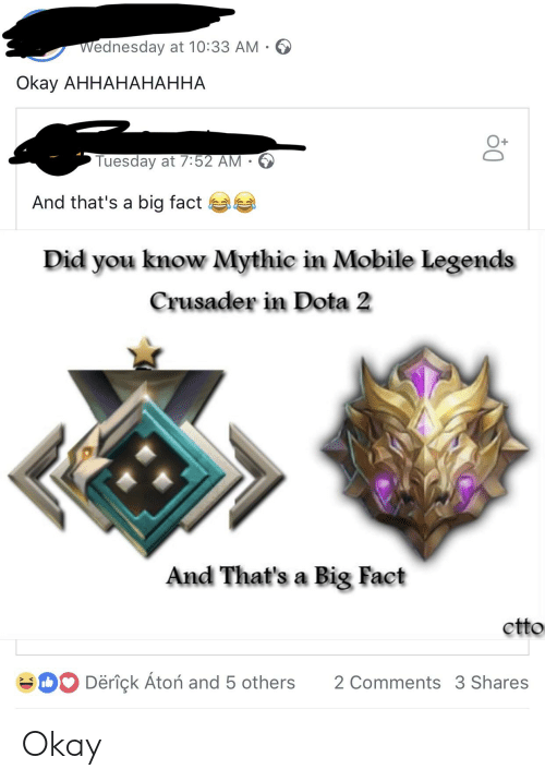 Dota 2, Mobile, and Okay: Wednesday at 10:33 AM  Okay AHHAHAHAHHA  O+  Tuesday at 7:52 AM -  And that's a big fact  Did you know Mythic in Mobile Legends  Crusader in Dota 2  And That's a Big Fact  ctto  Deriçk Atoń and 5 others 2 Comments 3 Shares Okay