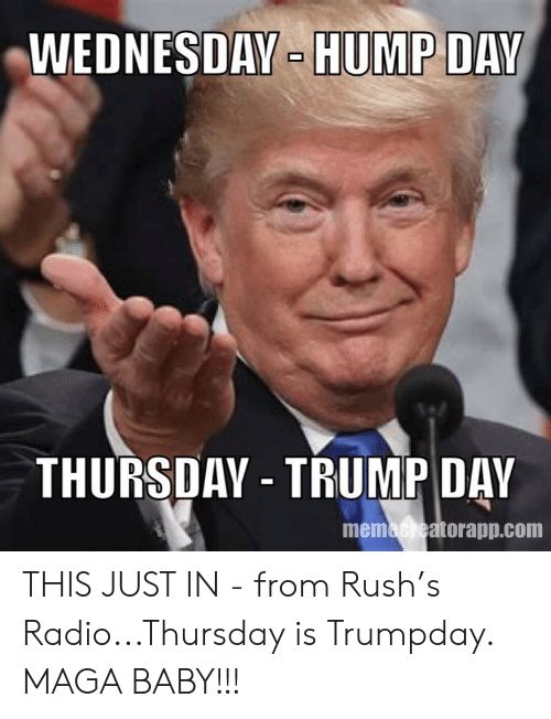 Hump Day, Radio, and Rush: WEDNESDAY- HUMP DAY  THURSDAY TRUMP DAY  memacheatorapp.com THIS JUST IN - from Rush's Radio...Thursday is Trumpday. MAGA BABY!!!