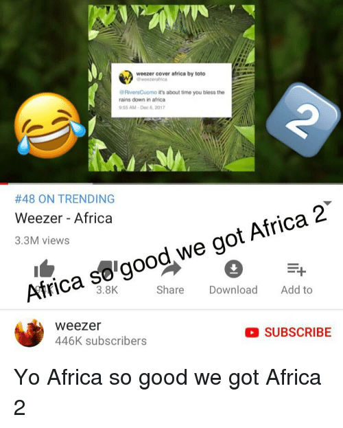 Weezer Cover Africa by Toto RiversCuomo It's About Time You