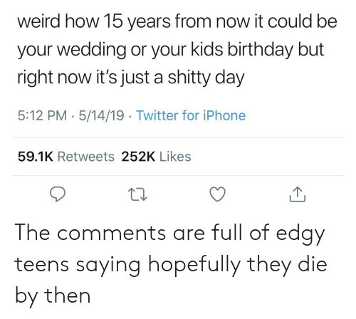 Birthday, Iphone, and Twitter: weird how 15 years from now it could bee  your wedding or your kids birthday but  right now it's just a shitty day  5:12 PM 5/14/19 Twitter for iPhone  59.1K Retweets 252K Likes The comments are full of edgy teens saying hopefully they die by then