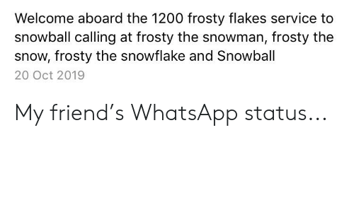 Welcome Aboard The 1200 Frosty Flakes Service To Snowball