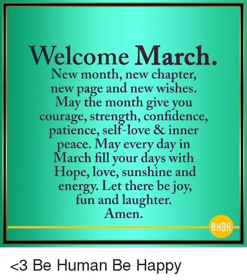 Welcome March New Month New Chapter New Page And New Wishes