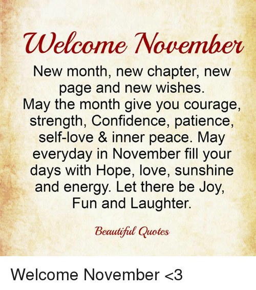 Welcome November New Month New Chapter New Page and New ...