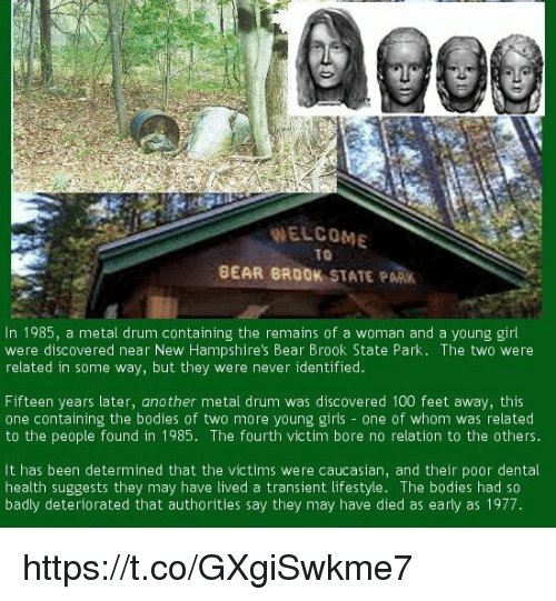 Anaconda, Bodies , and Girls: WELCOME  T0  BEAR BROOK STATE PARK  In 1985, a metal drum containing the remains of a woman and a young girl  were discovered near New Hampshire's Bear Brook State Park. The two were  related in some way, but they were never identified  Fifteen years later, another metal drum was discovered 100 feet away, this  one containing the bodies of two more young girls - one of whom was related  to the people found in 1985. The fourth victim bore no relation to the others.  It has been determined that the victims were caucasian, and their poor dental  health suggests they may have lived a transient lifestyle. The bodies had so  badly deteriorated that authorities say they may have died as early as 1977 https://t.co/GXgiSwkme7