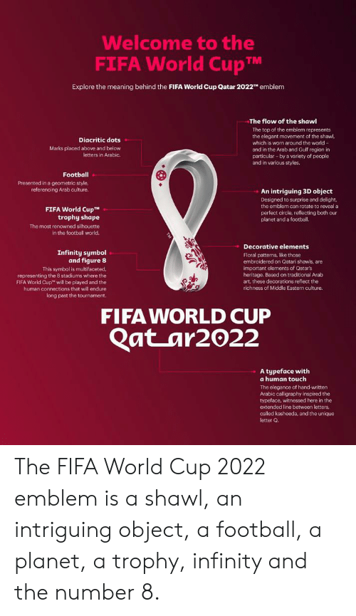 Fifa, Football, and World Cup: Welcome to the  FIFA World CupM  Explore the meaning behind the FIFA World Cup Qatar 2022TH emblem  The flow of the shawl  The top of the emblem represents  the elegant movement of the shawl,  which is worn around the world-  and in the Arab and Gulf region in  particular-by a variety of people  and in various styles.  Diacritic dots  Marks placed above and below  letters in Arabic.  Football  Presented in a geometric style  referencing Arab culture.  An intriguing 3D object  Designed to surprise and delight,  the emblem can rotate to reveal a  perfect circle, reflecting both our  planet and a footbal.  FIFA World CupT  trophy shape  The most renowned silhouette  in the football world.  Decorative elements  Infinity symbol  and figure 8  This symbol is multifaceted.  Floral patterns, like those  embroidered on Qatari shawls, are  important elements of Qatar's  heritage. Based on traditional Arab  art, these decorations reflect the  representing the 8 stadiums where the  FIFA World Cup  will be played and the  richness of Middle Eastern culture.  human connections that will endure  long past the tournament.  FIFA WORLD CUP  Qat ar2022  A typeface with  a human touch  The elegance of hand-written  Arabic calligraphy inspired the  typeface, witnessed here in the  extended line between letters,  called kasheeda, and the unique  letter Q. The FIFA World Cup 2022 emblem is a shawl, an intriguing object, a football, a planet, a trophy, infinity and the number 8.