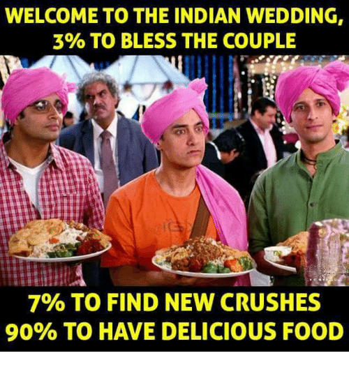 Food, Memes, and Wedding: WELCOME TO THE INDIAN WEDDING,  3% TO BLESS THE COUPLE  7% TO FIND NEW CRUSHES  90% TO HAVE DELICIOUS FOOD