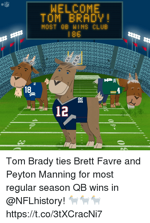 Memes, Peyton Manning, and Tom Brady: WELCOME  TOM BRADY  1 86  12 Tom Brady ties Brett Favre and Peyton Manning for most regular season QB wins in @NFLhistory! 🐐🐐🐐 https://t.co/3tXCracNi7