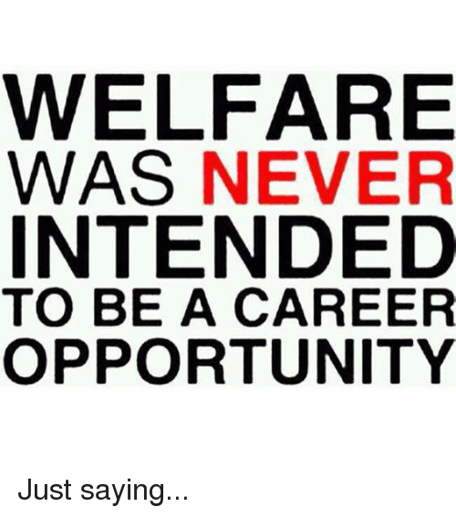 Memes, Opportunity, and 🤖: WELFARE  WAS NEVER  INTENDED  TO BE A CAREER  OPPORTUNITY Just saying...