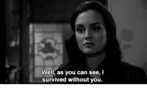 Can, You, and I Survived: Well, as you can see, I  survived without you.
