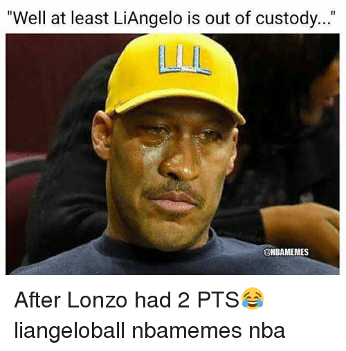 "Basketball, Nba, and Sports: ""Well at least LiAngelo is out of custody...""  ONBAMEMES After Lonzo had 2 PTS😂 liangeloball nbamemes nba"