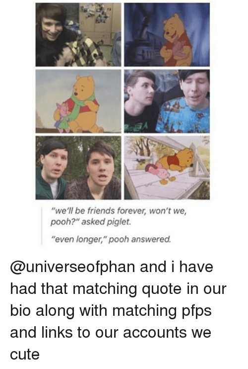"""Cute, Friends, and Memes: we'll be friends forever, won't we  pooh?"""" asked piglet.  """"even longer,"""" pooh answered. @universeofphan and i have had that matching quote in our bio along with matching pfps and links to our accounts we cute"""
