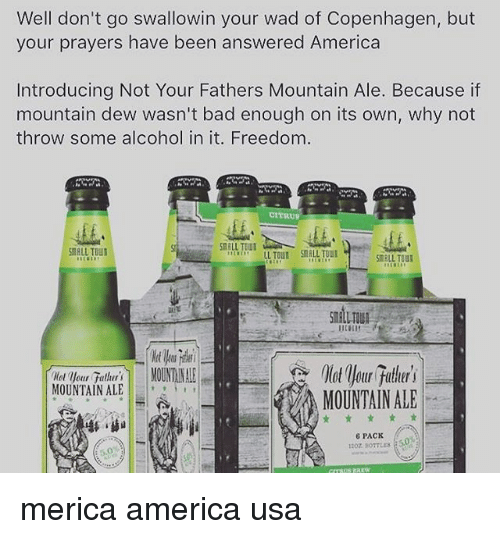 America, Bad, and Memes: Well don't go swallowin your wad of Copenhagen, but  your prayers have been answered America  Introducing Not Your Fathers Mountain Ale. Because if  mountain dew wasn't bad enough on its own, why not  throw some alcohol in it. Freedom.  CITRUP  ALU TOU  LL TOUN SMALL TOU  SmALL TOU  MOUNTAIN ALEL  MOUNTAIN ALE  6 PACK merica america usa