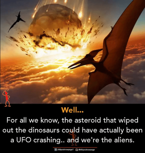 Memes, Aliens, and Dinosaurs: Well.  For all we know, the asteroid that wiped  out the dinosaurs could have actually been  a UFO crashing.. and we're the aliens.