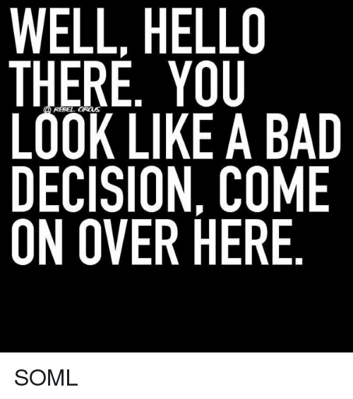 Memes, 🤖, and Hello There: WELL, HELLO  THERE. YOU  LOOK LIKE A BAD  DECISION, COME  ON OVER HERE SOML