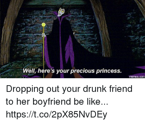 Be Like, Drunk, and Meme: Well, here's your precious princess.  meme s.com Dropping out your drunk friend to her boyfriend be like... https://t.co/2pX85NvDEy