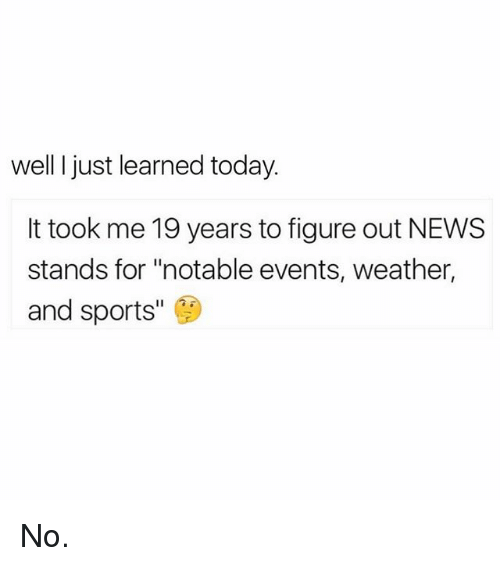 "News, Sports, and Today: well I just learned today.  It took me 19 years to figure out NEWS  stands for ""notable events, weather,  and sports No."