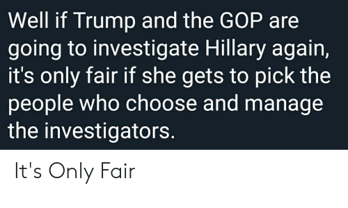 Politics, Trump, and Gop: Well if Trump and the GOP are  going to investigate Hillary again,  it's only fair if she gets to pick the  people who choose and manage  the investigators. It's Only Fair