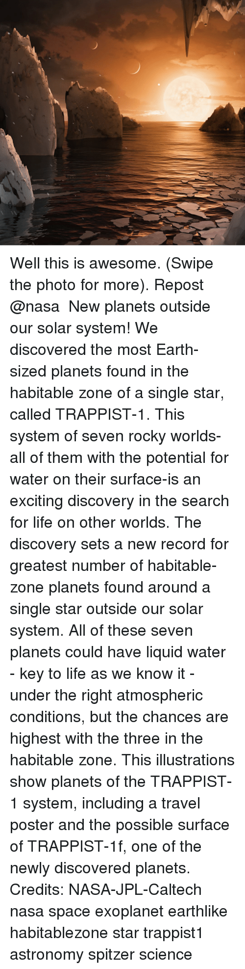 Memes, Nasa, and Rocky: Well this is awesome. (Swipe the photo for more). Repost @nasa ・・・ New planets outside our solar system! We discovered the most Earth-sized planets found in the habitable zone of a single star, called TRAPPIST-1. This system of seven rocky worlds-all of them with the potential for water on their surface-is an exciting discovery in the search for life on other worlds. The discovery sets a new record for greatest number of habitable-zone planets found around a single star outside our solar system. All of these seven planets could have liquid water - key to life as we know it - under the right atmospheric conditions, but the chances are highest with the three in the habitable zone. This illustrations show planets of the TRAPPIST-1 system, including a travel poster and the possible surface of TRAPPIST-1f, one of the newly discovered planets. Credits: NASA-JPL-Caltech nasa space exoplanet earthlike habitablezone star trappist1 astronomy spitzer science
